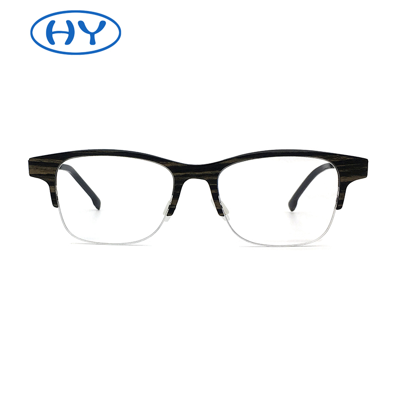 Half Frame Carbon Firber Eyeglasses with Wood Layer on Surface Business Style