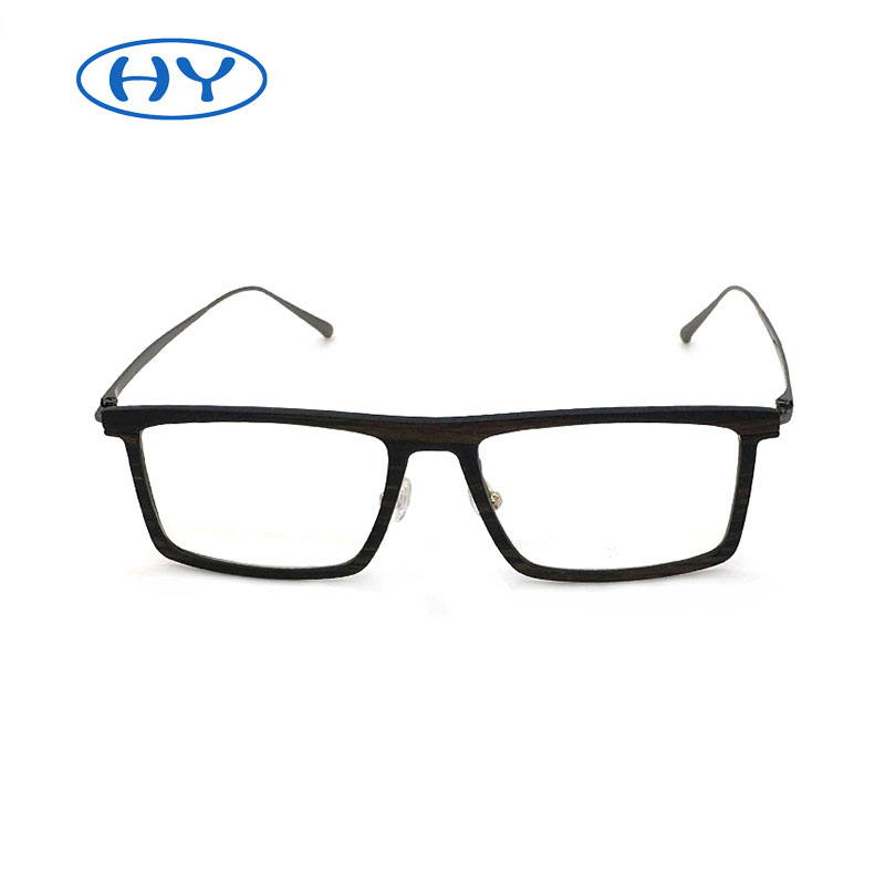 New fashion optic high quality carbon fiber with wooden cover square glasses