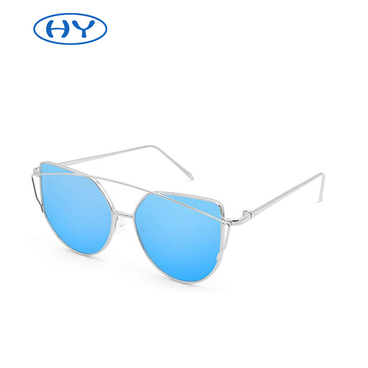 Metal Frame Sunglasses UV400 Sunglasses for Women Cat Eye Mirrored Flat Lenses
