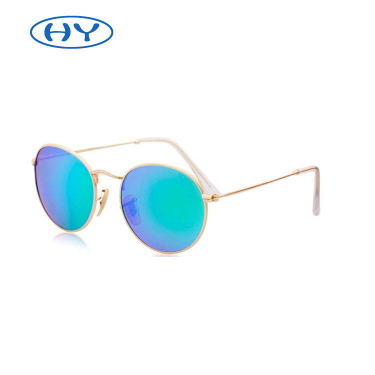 Small Round Polarized Sunglasses Mirrored Lens Unisex Glasses Metal Frame